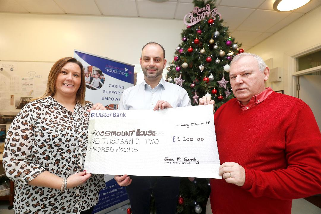 IGlenda McAuley outreach worker at Rosemount House , James Mc Garrity from JMG Music Group and Charlie Mc Garry Manager of Rosemount House pictured at the cheque presentation on Wednesday 3rd December 2019